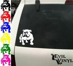Bulldog Vinyl Car Window Decal Dog Puppy Paw English by EvilVinyl, $3.00
