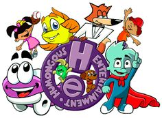 Humongous Entertainment computer games for kids: Pajama Sam, Putt Putt, Freddi Fish, Spy Fox, and Backyard Baseball