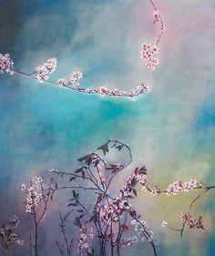 Violet blossoms, 150 x 180cm oil on canvas. www.paulavancoller.com Flourish, Blossoms, Cherry Blossom, Flower Art, Oil On Canvas, My Arts, Van, Symbols, Artist