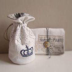 Drawstring bag antique linen hemp crown cross stitch
