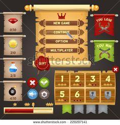 Arcade game menu interface design template vector illustration - stock vector