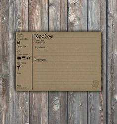 Printable Recipe Card -4x6 Recipe Card-Bridal Shower Recipe Card-Vintage Recipe Card-Rustic Card-Kitchen Shower Card-Instant Download_RC05