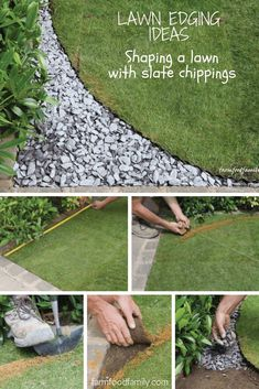 Lawn Edging Ideas: How to shape a lawn with slate chippings #garden #gardenideas #farmfoodfamily