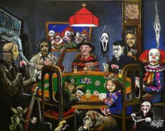 Horror Card Game from Tom Carlton Art is part of Horror icons - The Dogs playing poker, Horror cards game Online Store Powered by Storenvy Horror Movie Characters, Horror Movies, Comedy Movies, Dogs Playing Poker, Horror Artwork, Funny Horror, Horror Icons, Arte Horror, Horror Scream