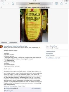 Mrs Ball's chutney (in case the other link to the recipe breaks. Braai Recipes, Cooking Recipes, Healthy Recipes, Oven Recipes, Chicken Recipes, South African Dishes, South African Recipes, Chutney Recipes, Sauce Recipes