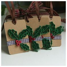 Set of 4 Christmas Gift Tags, Paper Quilling Gift Tags.