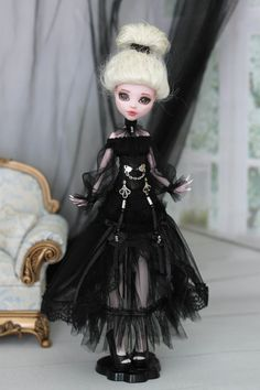 Gothic dress with corset  for  Monster High  doll 1/6 size