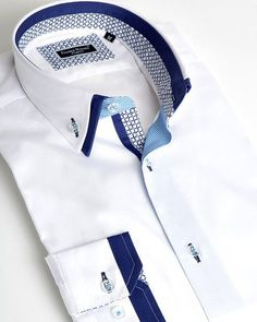 French shirt with double collar - French Shirt - Ideas of French Shirt - French shirt with double collar Formal Shirts For Men, Casual Shirts, Camisa Slim, Mens Designer Shirts, Kurta Designs, Collar Shirts, Double Collar Shirt, Herren T Shirt, Fashion Details