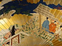 Tale of the Genji- As Told on a Fan They are dressed in heian robes.