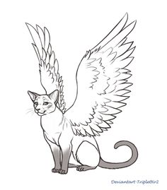 Commission for . Her request was a lineart picture of a sitting Siamese cat with angel wings. My first time drawing a cat in that kind! Dear i hope you like the picture i drew for you. ^^ (if there...