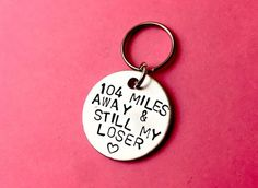 Long distance Relationship gift Anniversary Personalised Hand Stamped Keychain Long distance friendship gift boyfriend/girlfriend - long distance boyfriend goft – relationship long distance gifts on etsy - Loser Boyfriend, Best Boyfriend Gifts, Boyfriend Anniversary Gifts, Boyfriend Girlfriend, Boyfriend Goals, Long Distance Friendship, Long Distance Relationship Gifts, Long Distance Gifts, Relationship Quotes