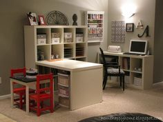 Craft/Scrapbooking Room - Like the small shelf for computer/cricut and the expedit storage - but would do a counter height work area.