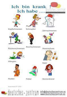 German vocabulary - Illness www. Study German, German English, Learn English, German Grammar, German Words, German Resources, Deutsch Language, Germany Language, Italian Lessons