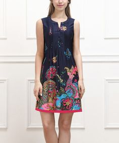 Another great find on #zulily! Navy & Fuchsia Floral Paisley Sleeveless Button-Front Dress #zulilyfinds