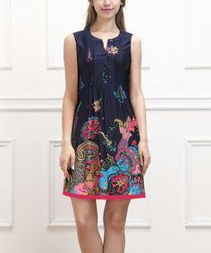 Look what I found on #zulily! Navy & Fuchsia Paisley Sleeveless Button-Front Dress #zulilyfinds