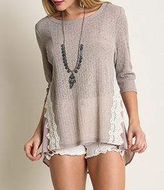 Lace Detailed Shirt with Semi-Sheer back by Umgee