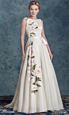 Hand painted Peony flowers adorn this silk organza dress. Every dress is an individual piece of art
