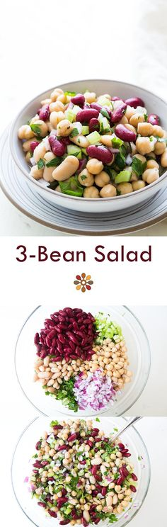 4 Points About Vintage And Standard Elizabethan Cooking Recipes! Classic American Salad, Perfect For Summer Picnics And Potlucks On Vegetarian Recipes, Cooking Recipes, Healthy Recipes, Three Bean Salad, Vegan 3 Bean Salad, Three Beans, Bean Salad Recipes, Bean Salads, Clean Eating