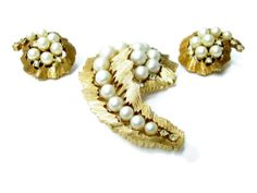 Vintage Rhinestone Faux Pearl Brooch Earrings by EclecticVintager, $50.00
