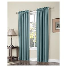 "Spencer Thermal Insulated Energy Efficient Rod Pocket Curtain Panel Pair Mineral 74""x63""- Sun Zero"