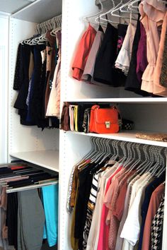 Small closets can be tricky. Here are some clothing storage and closet organization ideas for campers, motorhomes, travel trailers, or small apartments Teen Closet Organization, Organizing Walk In Closet, Closet Hacks, Closet Ideas, Organization Ideas, Small Linen Closets, Best Hangers, Wooden Closet, Closet Space