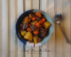 This rich and delicious Beef Stew with Beer is cooked slowly until the beef is tender and falling apart. This soup makes a savory, quick and delicious meal any day of the week. Beef Stew Beer Recipe, Beef Stew With Beer, Homemade Beef Stew, Slow Cooker Recipes, Beef Recipes, Soup Recipes, Whole Food Recipes, Dinner Recipes, Dinner Menu