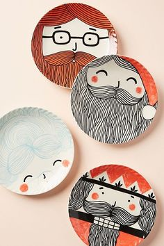 Slide View: Krafty K Design Friendly Face Canape Plate Christmas Plates, Rustic Christmas, Christmas Tree Decorations, Christmas Crafts, Christmas Design, Xmas, Pottery Plates, Ceramic Pottery, Pottery Art