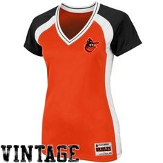Majestic Baltimore Orioles Ladies Cooperstown Collection Opal Synthetic Premium T-Shirt - Orange