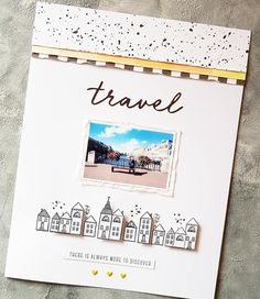 love that top part with all the layers! dots and stripes + color :) School Scrapbook, Travel Scrapbook, Scrapbook Sketches, Scrapbook Page Layouts, Scrapbook Paper Crafts, Scrapbook Cards, Mini Albums, Travel Album, Layout Inspiration