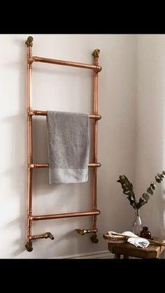 Copper Bathroom Accessories, Luxury Garden Furniture, Towel Rack Bathroom, Towel Racks, Heated Towel Rail, Pipe Furniture, Bathroom Inspiration, Bathroom Ideas, Radiators