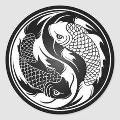 White and Black Yin Yang Koi Fish Art Print by Jeff Bartels - X-Small Koi Fish Drawing, Koi Fish Tattoo, Fish Drawings, Fish Tattoos, Yin Yang Tattoos, Pisces Tattoos, Buddha Tattoos, Koi Art, Fish Art