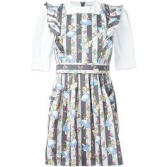 Olympia Le-Tan Alice in Wonderland Print Dress ($916) ❤ liked on Polyvore featuring grey