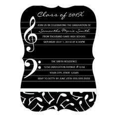 Music Theme Graduation Party Invitation Announcements