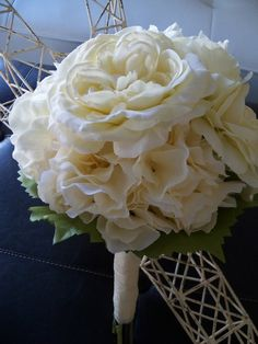 Ivory Bridal Bouquet with Hydrangea, English Roses, and Peonies
