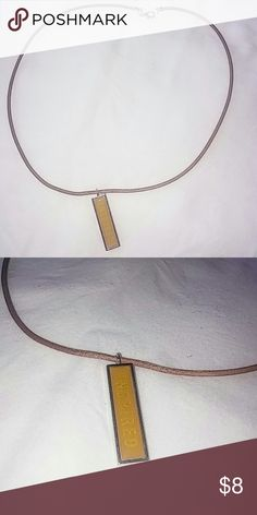"""Handmade Leather Necklace Handmade Leather Necklace On Brown Leather Cord, Tan With Yellow Pendant That Says """"Inspired"""" & Silver Plated Lobster Clasp. 20"""" Long. Taking Offers!! Jewelry Necklaces"""