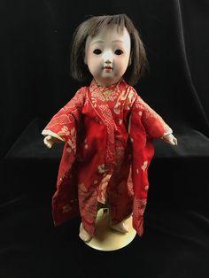 "Ichimatsu Ningyo Antique Jointed Gofun 15"" Play Doll Glass Sleep Eyes Japanese"