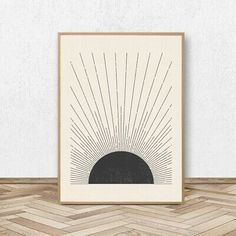 Sun Illustration Mid Century Poster Prints Neutral Colors Style Canvas Painting #fashion #home #garden #homedcor #postersprints (ebay link)