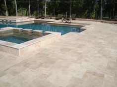 Item: French Pattern Country Classic Travertine tumbled Pavers Each Container : 3872 Sqft Total Container arrived : 18 Containers My Pool, Swimming Pools Backyard, Pool Decks, Pool Landscaping, Lap Pools, Outdoor Paving, Outdoor Pool, Indoor Outdoor, Outdoor Flooring