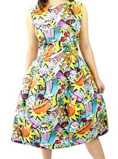 """Women's """"Poptart"""" Pleated Dress by Hemet (Multi) #inkedshop #popart #colorful #cartoon #dress"""