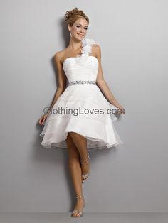 Short Sweet Dress Bead Band Highlight Organza A-line Beach Wedding Dresses YSP273