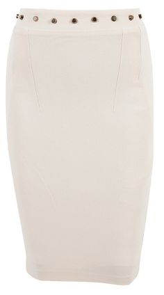 'Stacey' Studded Cream High Waisted Pencil Skirt