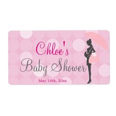 Pink Silhouette Baby Shower Water Bottle Labels
