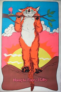 I had this in my room!!   Vintage Hang in There Baby 1972 Black Light Poster by PoorLittleRobin, $48.00