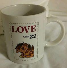 Love USA 22 Dog Coffee Mug Cup 1985 US Postal Service in Collectibles | eBay