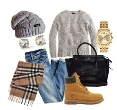 """Timberlands"" by yourmbstyle ❤ liked on Polyvore featuring J.Crew, Timberland, Michael Kors, Kate Spade and Burberry"