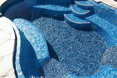 Glittering lapis! - Lightstreams Custom Glass Pool Tile C | San Diego