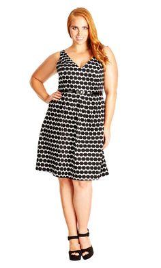 City Chic - MISS SPOTTY DRESS - Women's Plus Size Fashion City Chic - City Chic Your Leading Plus Size Fashion Destination #citychic #citychiconline #newarrivals #plussize #plusfashion