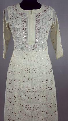 Fabulous Cotton Chikankari kurti with dense Embroidery and gotta patti work Dress Party, Party Wear, Indian Designer Wear, Kurtis, Salwar Kameez, Embroidery, Formal Dresses, Cotton, How To Wear