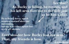 How Bucky lost his arm. This shows that fangirls DO have a life. It's just not productive to non-fangirls