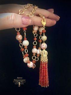 "Сотуар ""Молоко с корицей"", сердоликовая кисть, яшма розовая, матовая, сердолик граненый, фурнитура Люкс Tassel Necklace, Necklaces, Bracelets, Tassels, Charmed, Drop Earrings, Jewelry, Bangle Bracelets, Jewellery Making"